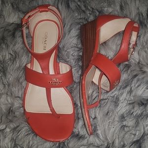 Coach size 7 w/ 1.5 inch healed sandal orange